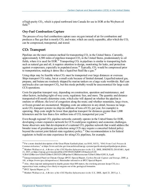 Carbon Capture and Sequestration (CCS) in the United States Congressional Research Service 14 of high-purity CO2, which is...