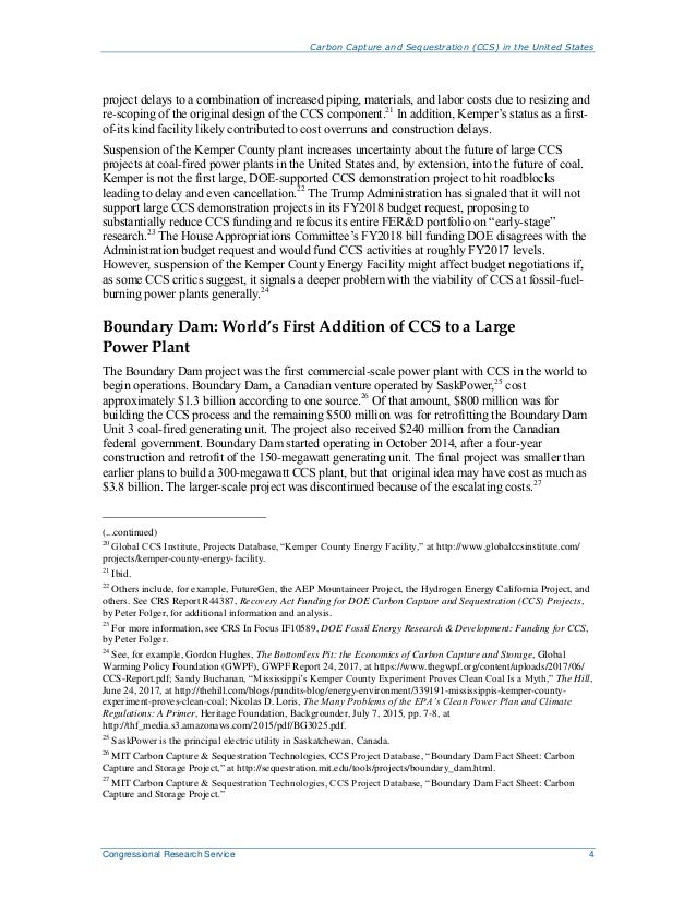 Carbon Capture and Sequestration (CCS) in the United States Congressional Research Service 4 project delays to a combinati...