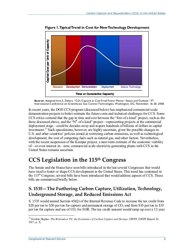 Carbon Capture and Sequestration (CCS) in the United States Congressional Research Service 6 Figure 1.TypicalTrend in Cost...