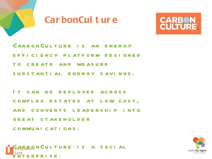 CarbonCulture your project CarbonCulture is an energy efficiency platform designed to create and measure substantial energ...