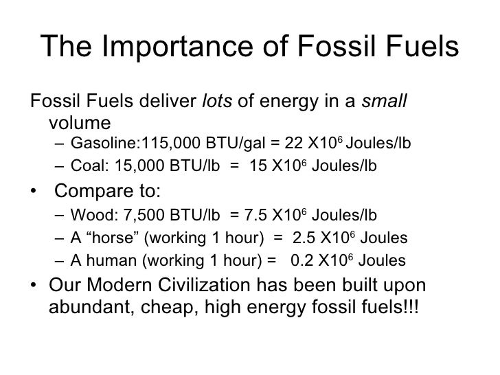 the importance of fossil fuels