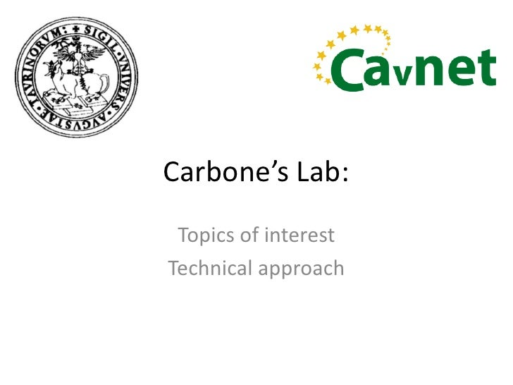 Carbone's Lab:<br />Topicsof interest<br />Technicalapproach<br />