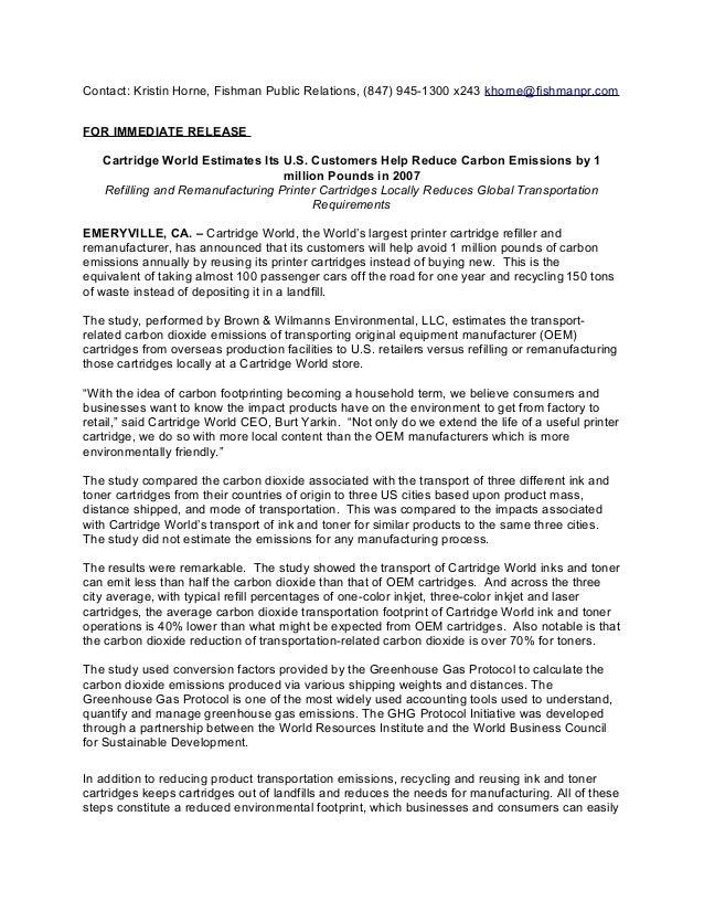 Contact: Kristin Horne, Fishman Public Relations, (847) 945-1300 x243 khorne@fishmanpr.com FOR IMMEDIATE RELEASE Cartridge...