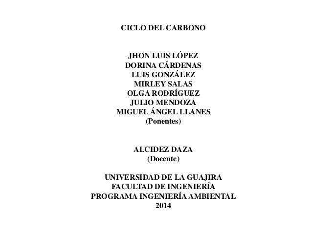 CICLO DEL CARBONO JHON LUIS LÓPEZ DORINA CÁRDENAS LUIS GONZÁLEZ MIRLEY SALAS OLGA RODRÍGUEZ JULIO MENDOZA MIGUEL ÁNGEL LLA...