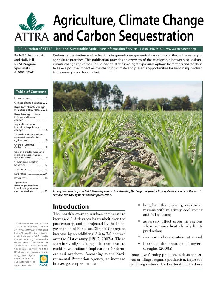 Agriculture, Climate Change                                                 and Carbon Sequestration    A Publication of A...