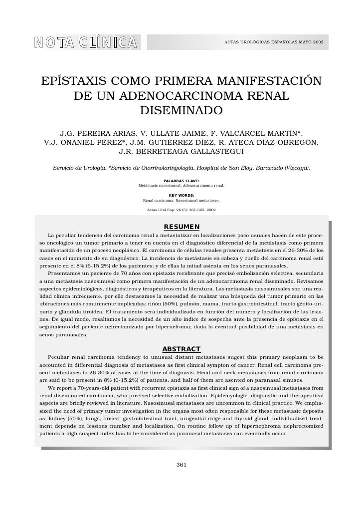 NOTA CLÍNICA                                                                            ACTAS UROLÓGICAS ESPAÑOLAS MAYO 20...