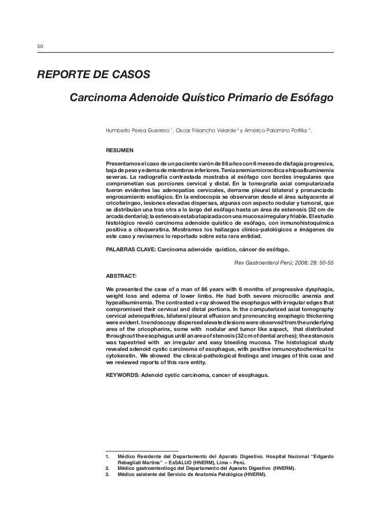 Carcinoma adenoide quístico primario de esófago