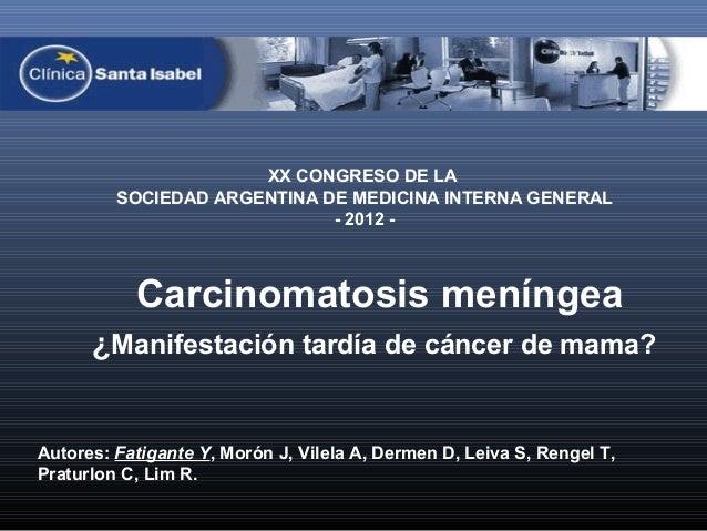 XX CONGRESO DE LA         SOCIEDAD ARGENTINA DE MEDICINA INTERNA GENERAL                             - 2012 -           Ca...