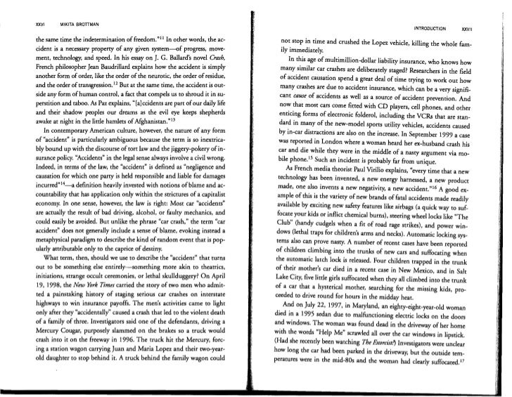 baudrillard essay on crash Total screen: how baudrillard anticipated or whether this is the real deal underlining the eventual crash and burn of the he wrote a landmark essay.