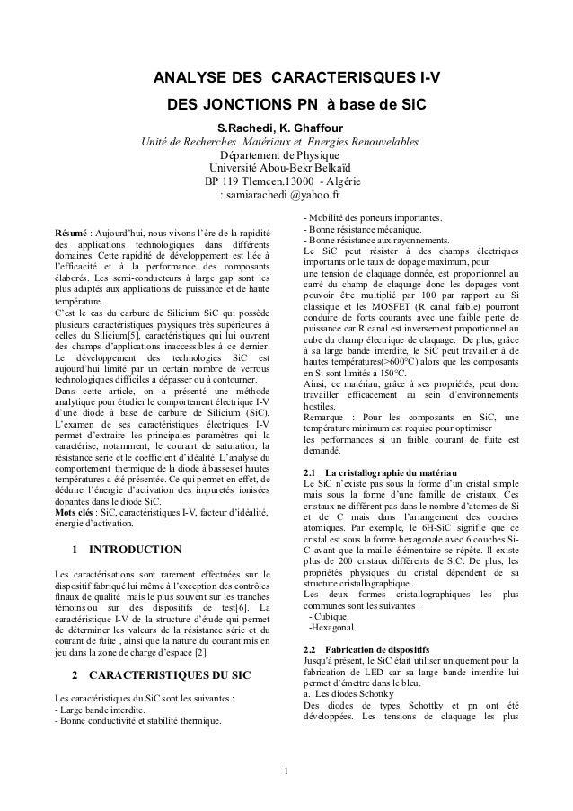 ANALYSE DES CARACTERISQUES I-V                              DES JONCTIONS PN à base de SiC                                ...