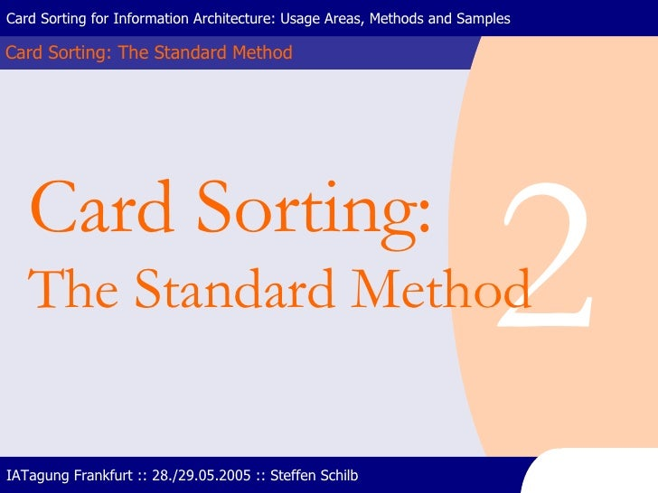 Card Sorting: The Standard Method Card Sorting for Information Architecture: Usage Areas, Methods and Samples IATagung Fra...