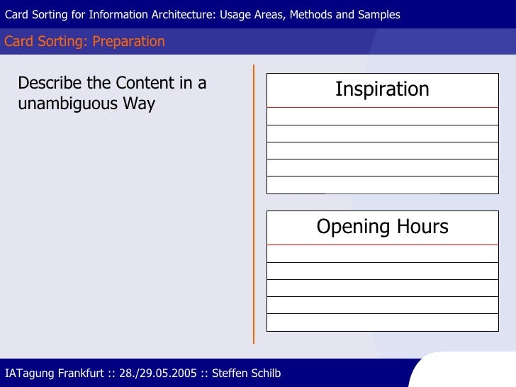 Card Sorting: Preparation Card Sorting for Information Architecture: Usage Areas, Methods and Samples IATagung Frankfurt :...