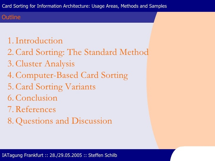 Outline Card Sorting for Information Architecture: Usage Areas, Methods and Samples IATagung Frankfurt :: 28./29.05.2005 :...