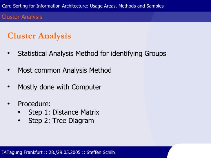 Cluster Analysis Card Sorting for Information Architecture: Usage Areas, Methods and Samples IATagung Frankfurt :: 28./29....