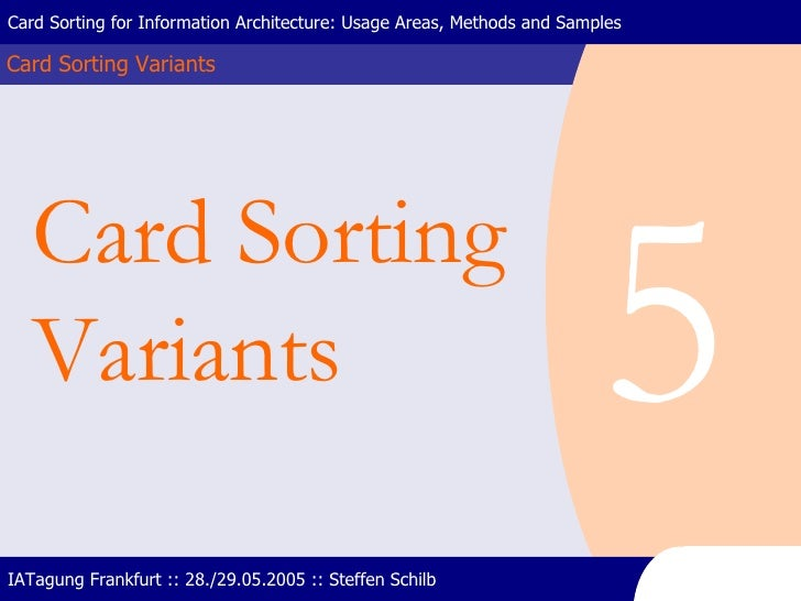 Card Sorting Variants Card Sorting for Information Architecture: Usage Areas, Methods and Samples IATagung Frankfurt :: 28...