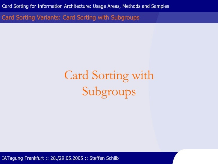 Card Sorting Variants: Card Sorting with Subgroups Card Sorting for Information Architecture: Usage Areas, Methods and Sam...