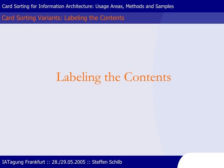 Card Sorting Variants: Labeling the Contents Card Sorting for Information Architecture: Usage Areas, Methods and Samples I...