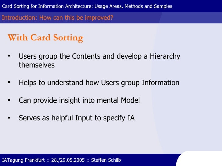 Introduction: How can this be improved? Card Sorting for Information Architecture: Usage Areas, Methods and Samples IATagu...