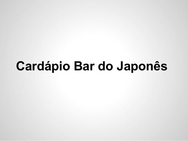 Cardápio Bar do Japonês