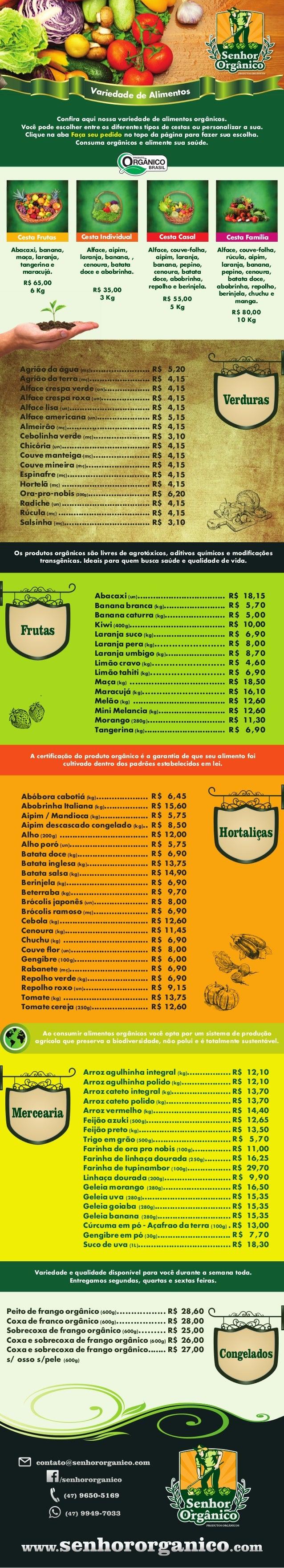 Frutas Va sor tie nd ea mid le Ade Confira aqui nossa variedade de alimentos orgânicos. Você pode escolher entre os diferen...