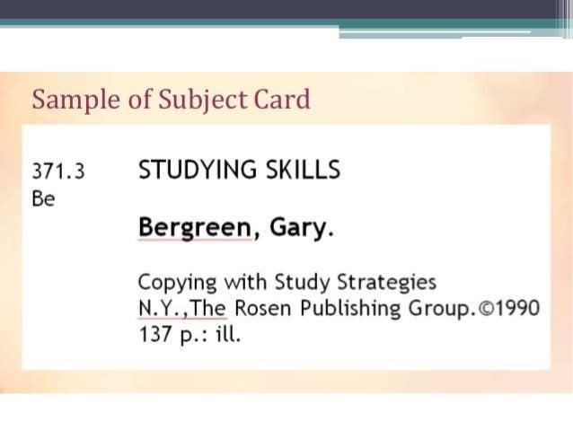 Card catalog grade 7.
