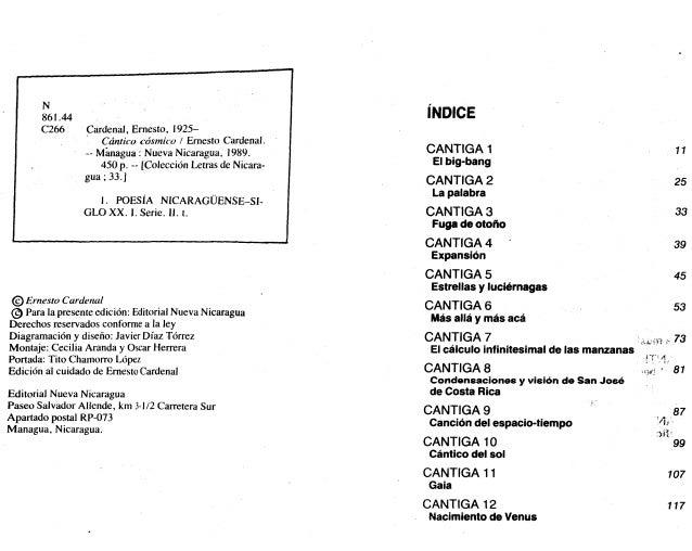 N 861.44 C266 Cardenal, Ernesto, 1925- Cántico cósmico I Ernesto Cardenal. — Managua : Nueva Nicaragua, 1989. 450 p. - [Co...