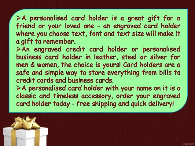 View the great collection of personalised card holder uk engraved car personalised card holder at wegetpersonal uk 2 card reheart Image collections
