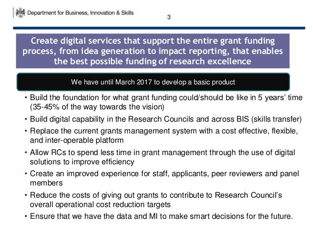 • Build the foundation for what grant funding could/should be like in 5 years' time (35-45% of the way towards the vision)...