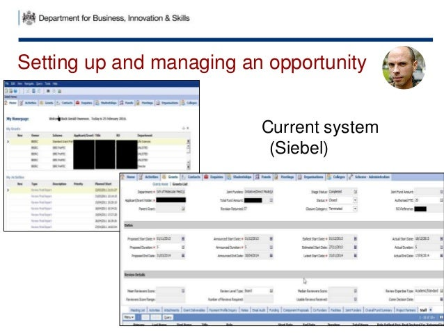 Setting up and managing an opportunity Current system (Siebel)
