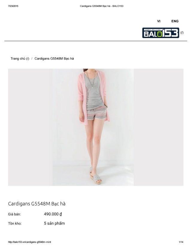 7/23/2015 Cardigans G5548M Bạc hà - BALO153  Vl ENG  Trang chủ (/) / Cardigans G5548M Bạc hà  Cardigans G5548M Bạc hà  Giá...
