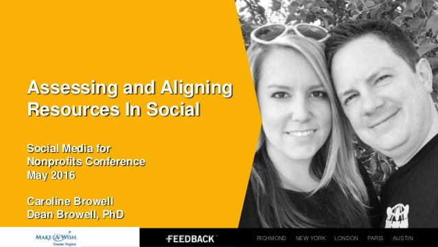 Assessing and Aligning Resources In Social Social Media for Nonprofits Conference May 2016 Caroline Browell Dean Browell, ...