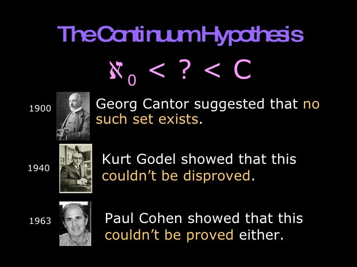cantor continuum hypothesis The continuum hypothesis (under one formulation) is simply the statement that there is no such set of real numbers it was through his attempt to prove this hypothesis that led cantor do develop set theory into a sophisticated branch of mathematics.