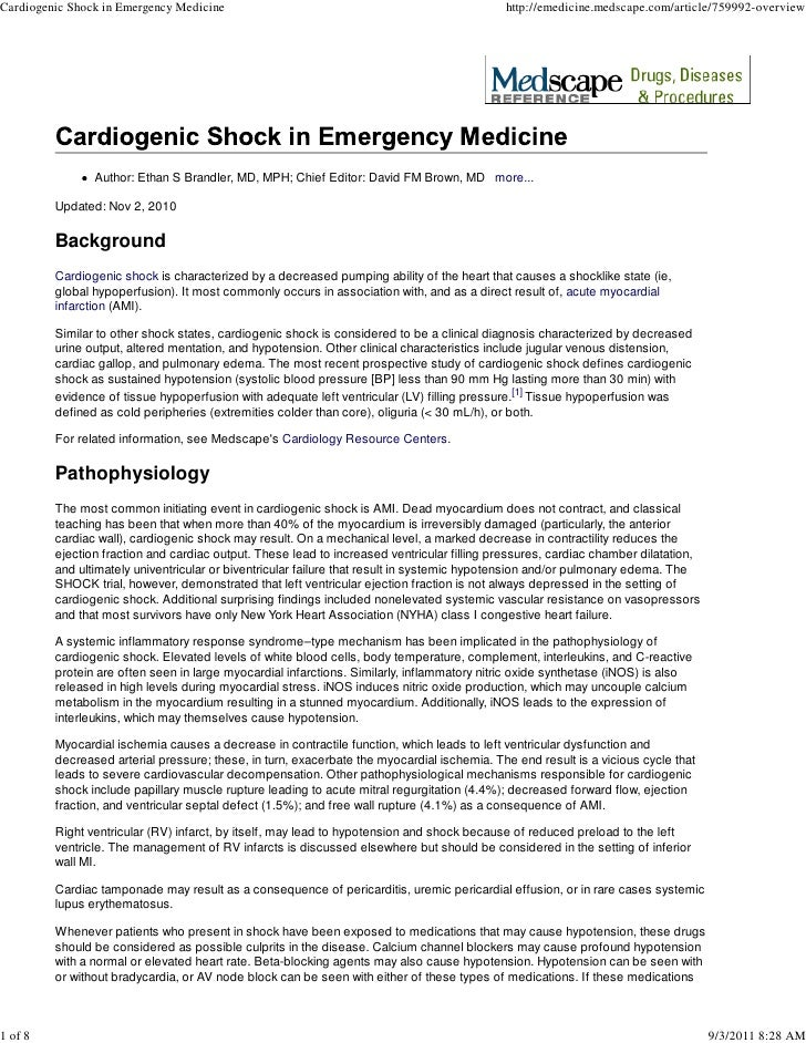 Cardiogenic Shock in Emergency Medicine                                                     http://emedicine.medscape.com/...