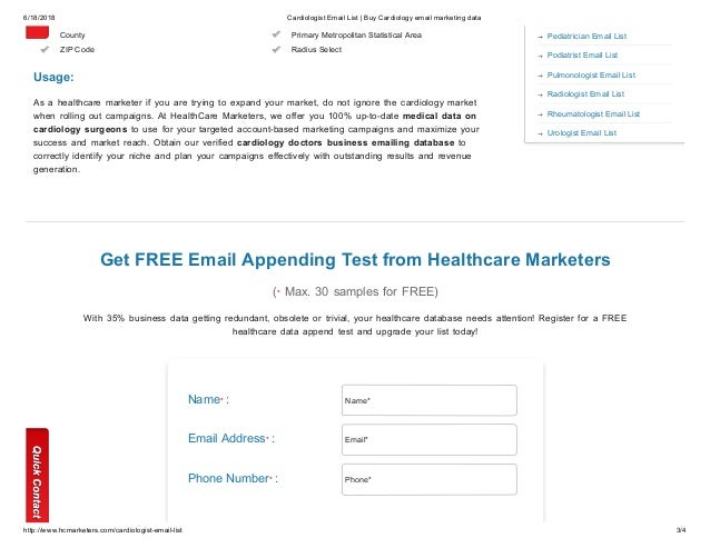 Cardiologist Database - Healthcare Marketers