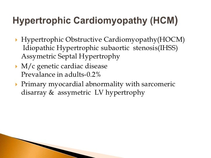 Hypertrophic cardiomyopathy: variantsHypertrophic cardiomyopathy morphology exhibits heterogeneity.The mostcommon variant ...