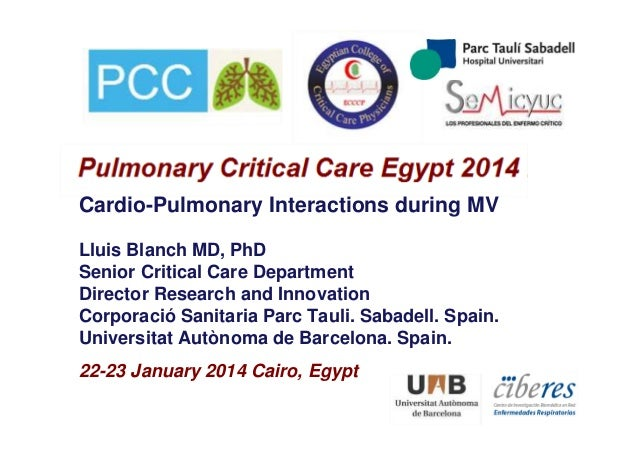 22-23 January 2014 Cairo, Egypt Cardio-Pulmonary Interactions during MV Lluis Blanch MD, PhD Senior Critical Care Departme...