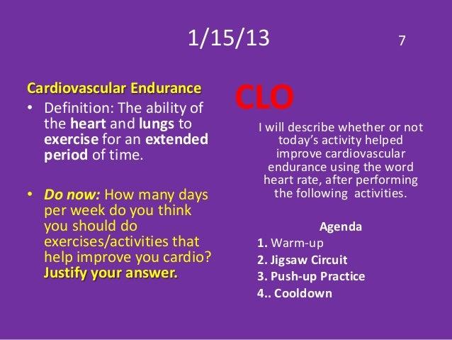 Cardiovascular endurance do now Bodyworks