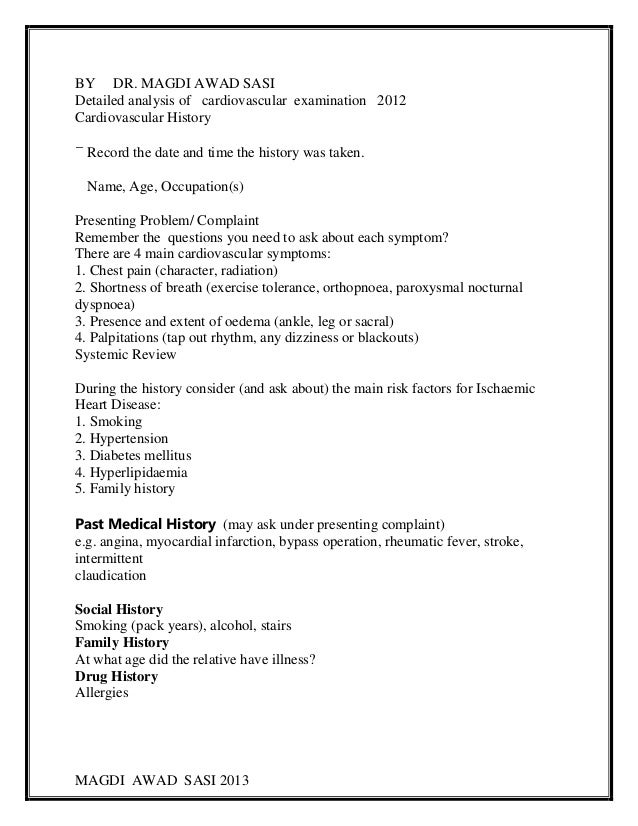 MAGDI AWAD SASI 2013BY DR. MAGDI AWAD SASIDetailed analysis of cardiovascular examination 2012Cardiovascular HistoryRecord...