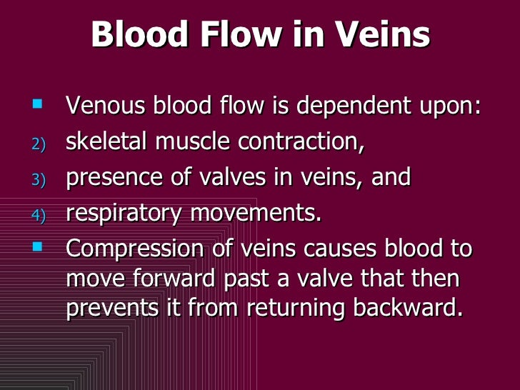 Blood Flow in Veins <ul><li>Venous blood flow is dependent upon: </li></ul><ul><li>skeletal muscle contraction,  </li></ul...