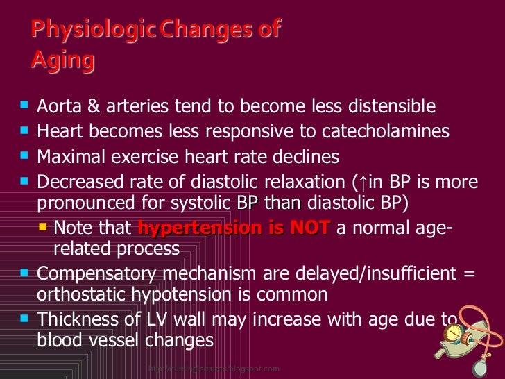 <ul><li>Aorta & arteries tend to become less distensible </li></ul><ul><li>Heart becomes less responsive to catecholamines...