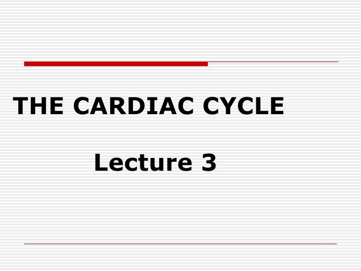 THE CARDIAC CYCLE   Lecture 3