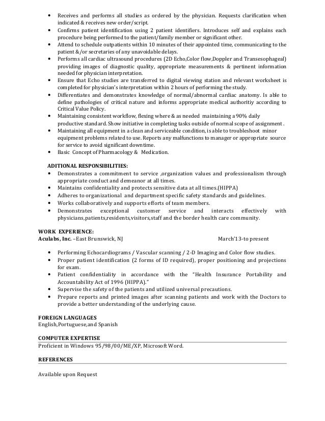 Ultrasound Technician Resume Sample