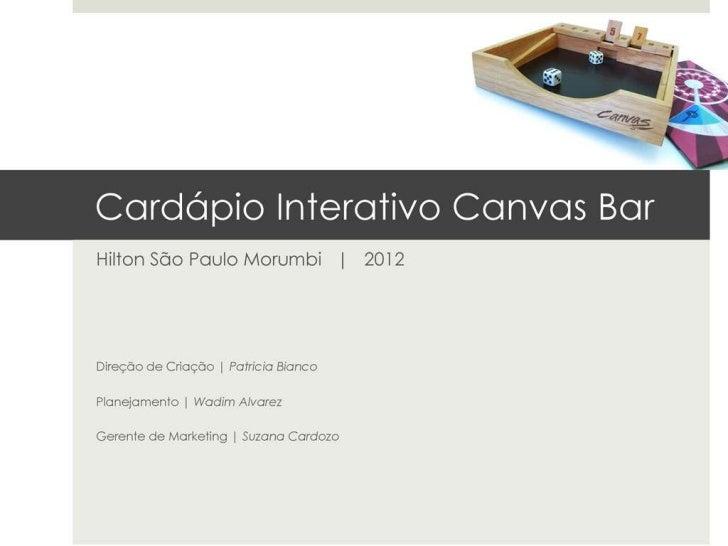 Cardápio interativo Canvas Bar