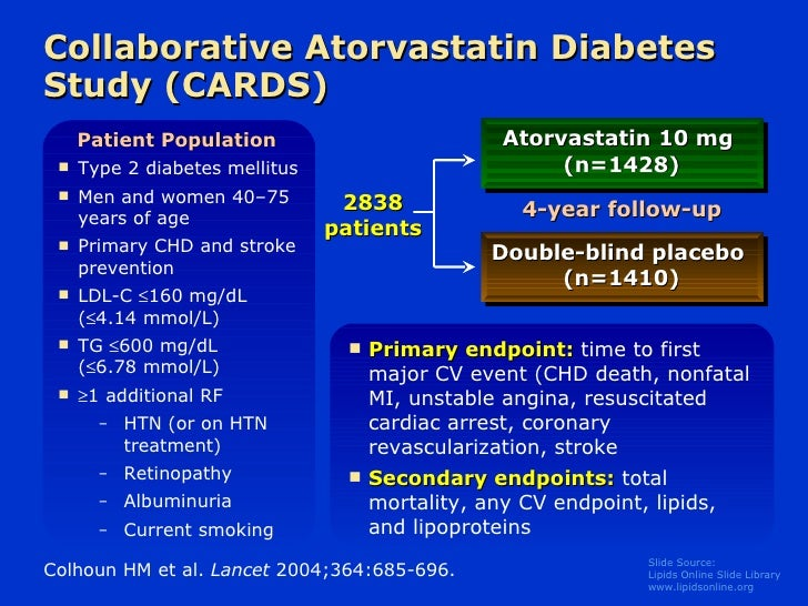 Collaborative Atorvastatin Diabetes Study (CARDS) <ul><li>Type 2 diabetes mellitus </li></ul><ul><li>Men and women 40–75 y...