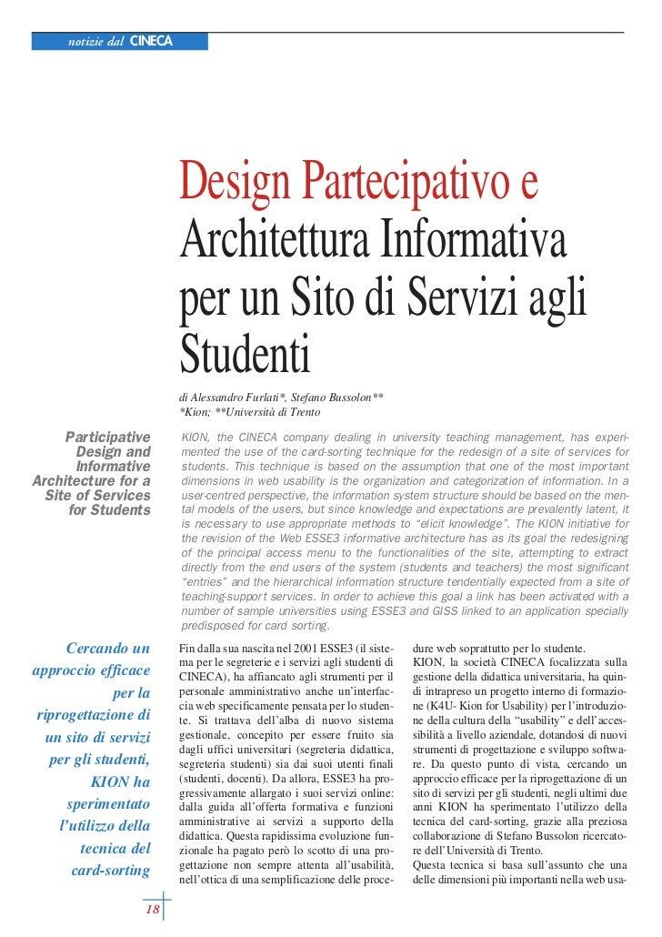 notizie dal CINECA                           Design Partecipativo e                           Architettura Informativa    ...