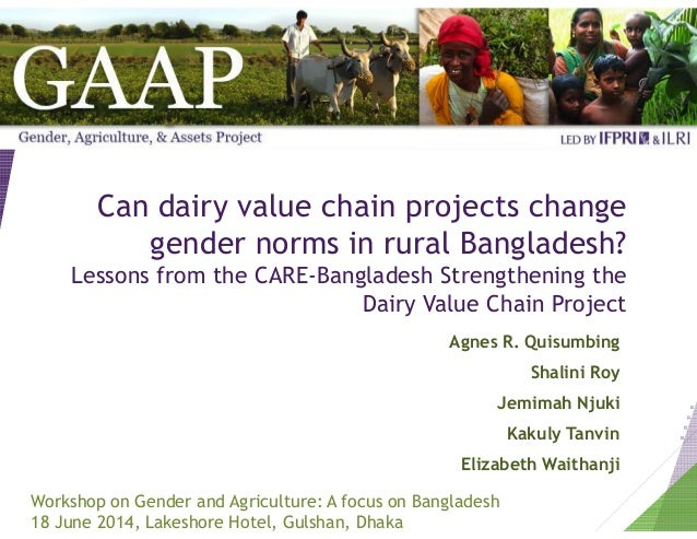 Can dairy value chain projects change gender norms in rural Bangladesh? Lessons from the CARE-Bangladesh Strengthening the...