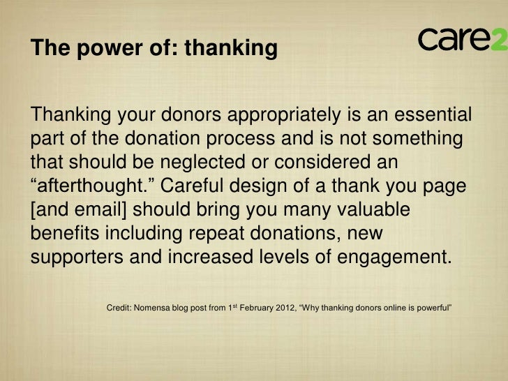 The power of: thankingThanking your donors appropriately is an essentialpart of the donation process and is not somethingt...