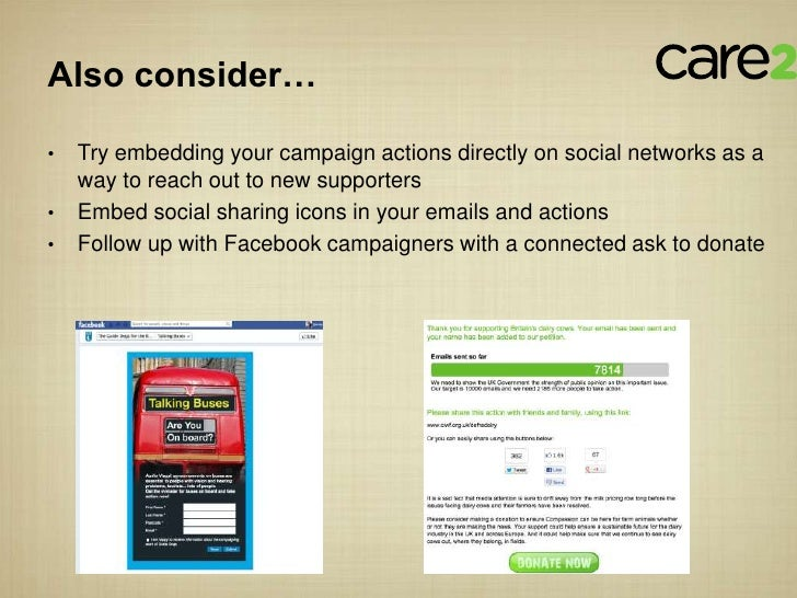 Also consider…•   Try embedding your campaign actions directly on social networks as a    way to reach out to new supporte...