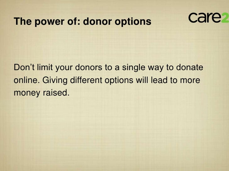 """The power of: donor optionsDon""""t limit your donors to a single way to donateonline. Giving different options will lead to ..."""