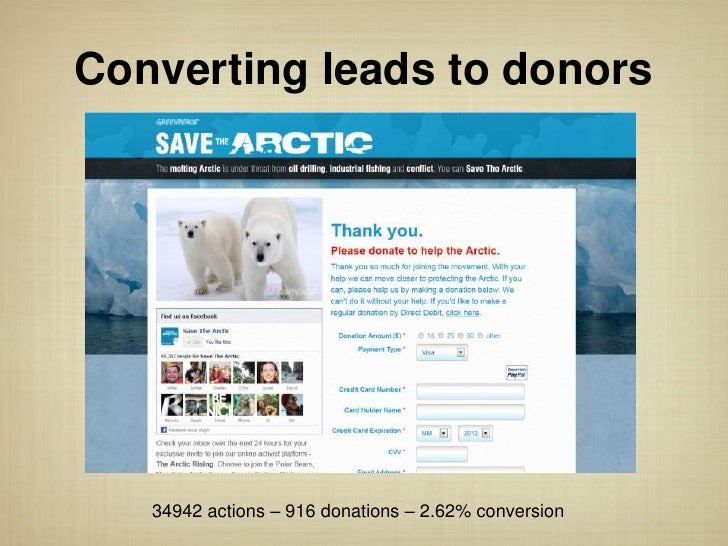 Converting leads to donors   34942 actions – 916 donations – 2.62% conversion